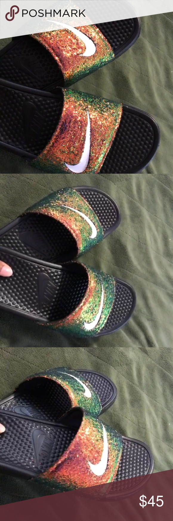 c10431e23cfc Chameleon Nike slides Gorgeous custom orange to green chameleon color  changing Nike slides Nike Shoes Sandals
