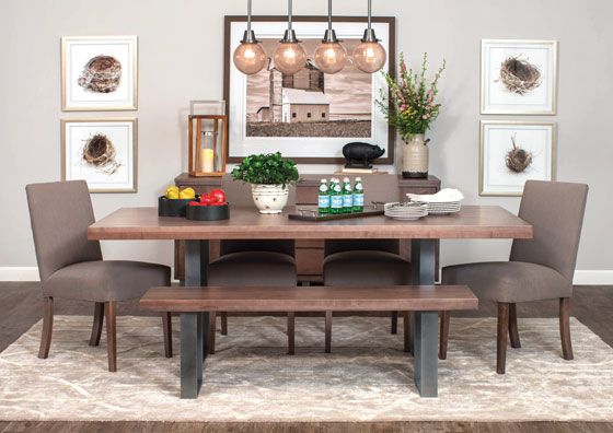 it s all about the metal combined with the beauty of wood in the ironwood table from modern farmhouse collections by simply amish