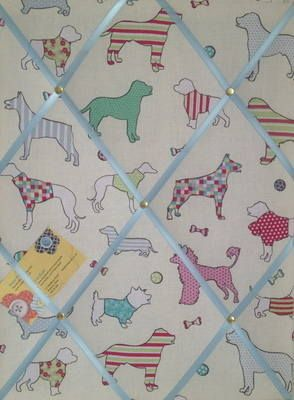 Medium Woof Dogs Turquoise Hand Crafted Fabric Notice / Memory / Pin / Memo Board £14.99