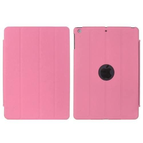 For+iPad+Air+Pink+4-folding+PU+Leather+Case+with+Holder+&+Sleep+/+Wake-up+Function,+ENK-3157