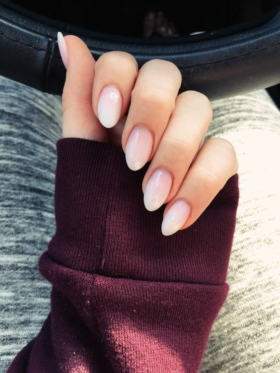 Blush Pink Almond Shape Nails Soft Ombre Oval Nails Gel Nails Nail Designs