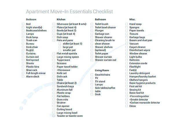 Apartment Moving Essentials Checklist Template Download ...