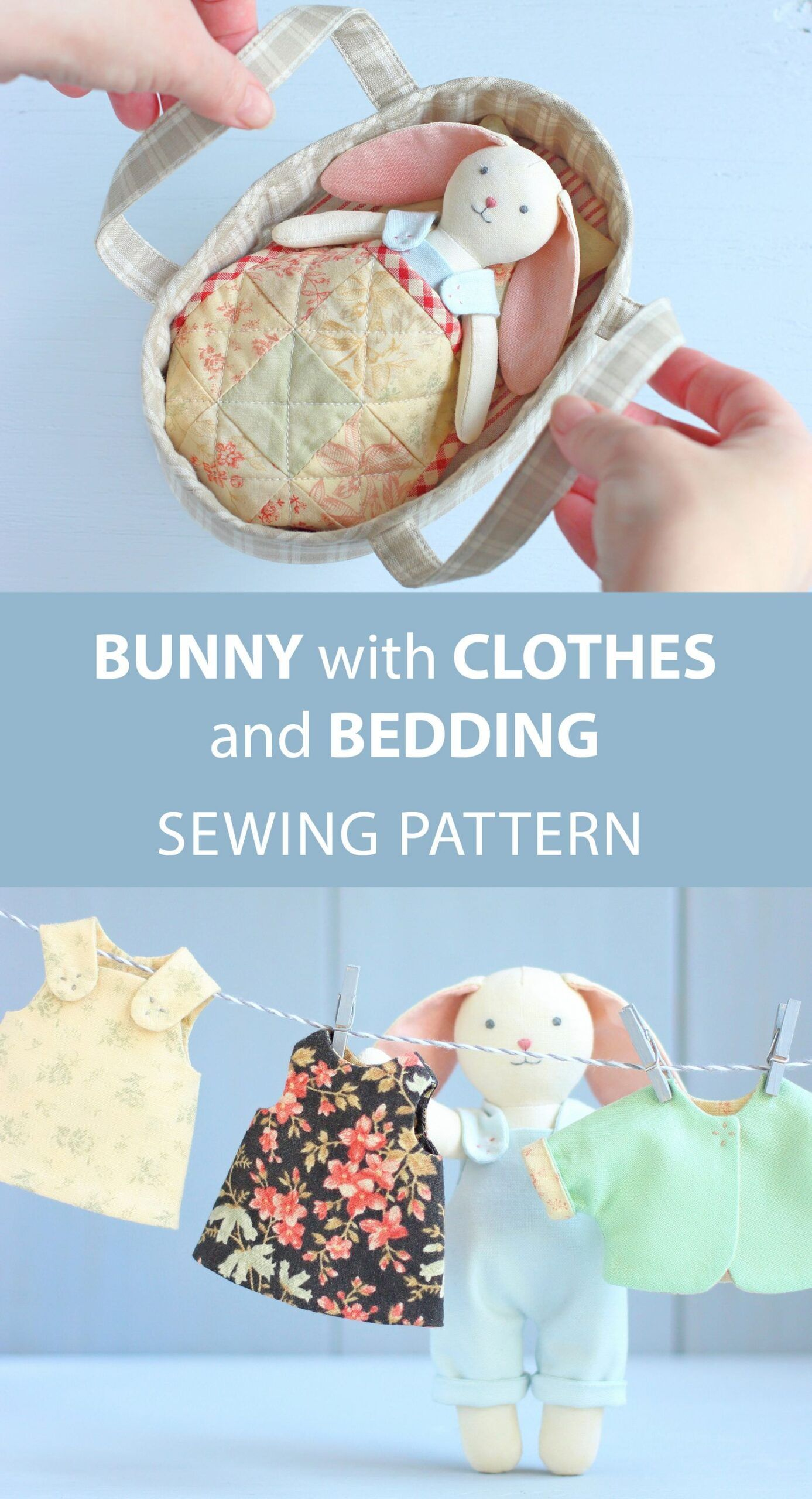 2 PDF: Mini Bunny with Set of Clothes + Basket with Bedding Sewing Pattern — DIY Animal Stuffed Doll, Soft Toy, Dress up Doll, Rabbit Doll, #Animal #Basket #Bedding #Bunny #Clothes #DIY #Doll #Dress #Mini #Pattern #PDF #Rabbit #Set #Sewing #soft #Stuffed #Toy