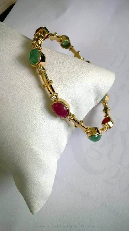 435b888546b Diamond Bangles with Rubies and Emeralds, Ruby Diamond Bangle Design,  Emerald Diamond Bangle Design