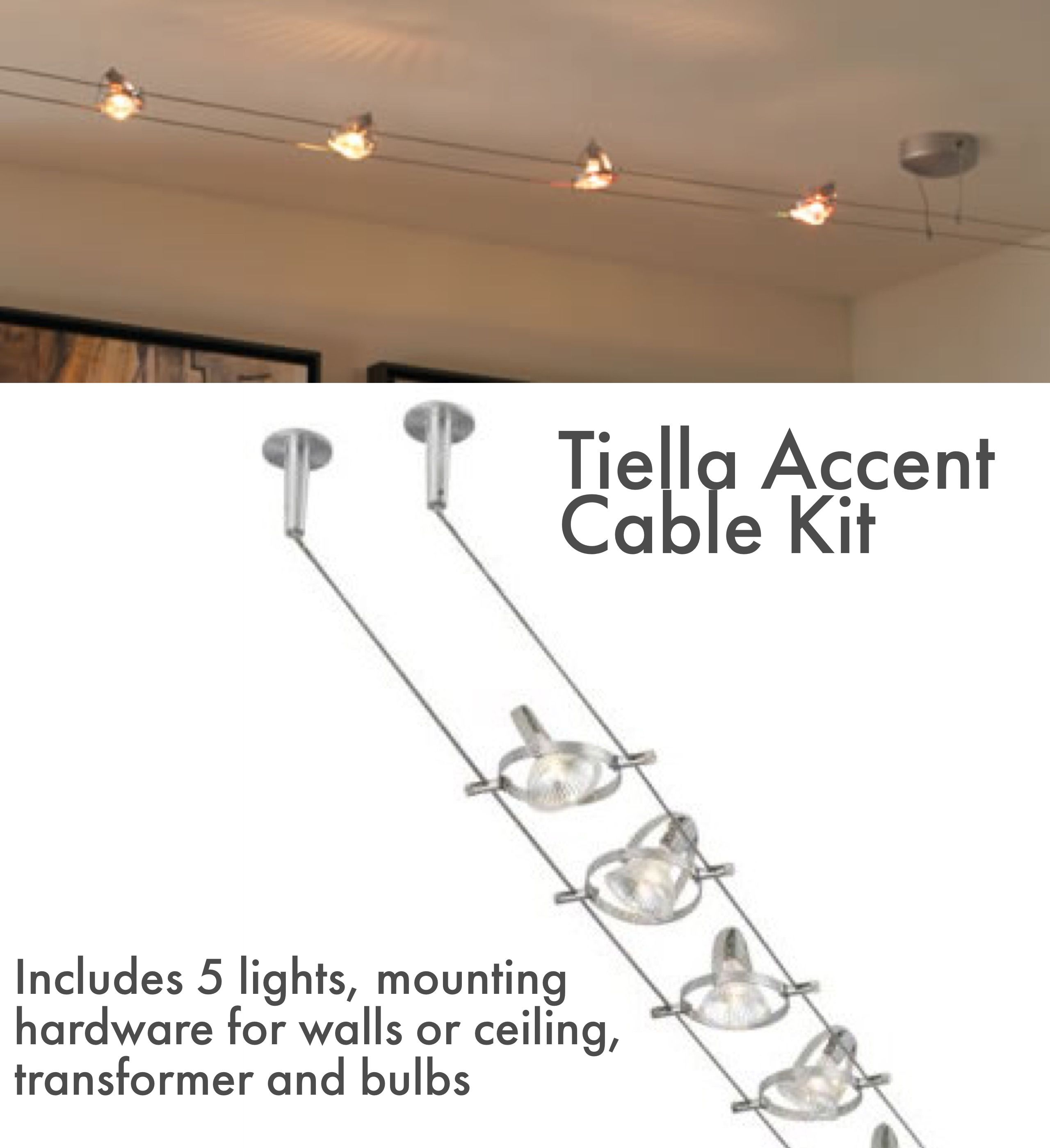 Tiella 800cbl5p Accent 5 Light Cable Kit 800cbl5pn 155 00 Accent Rail Kit 5 Head Cable Kit With Track Lighting Kitchen Wire Track Lighting Ceiling Lights