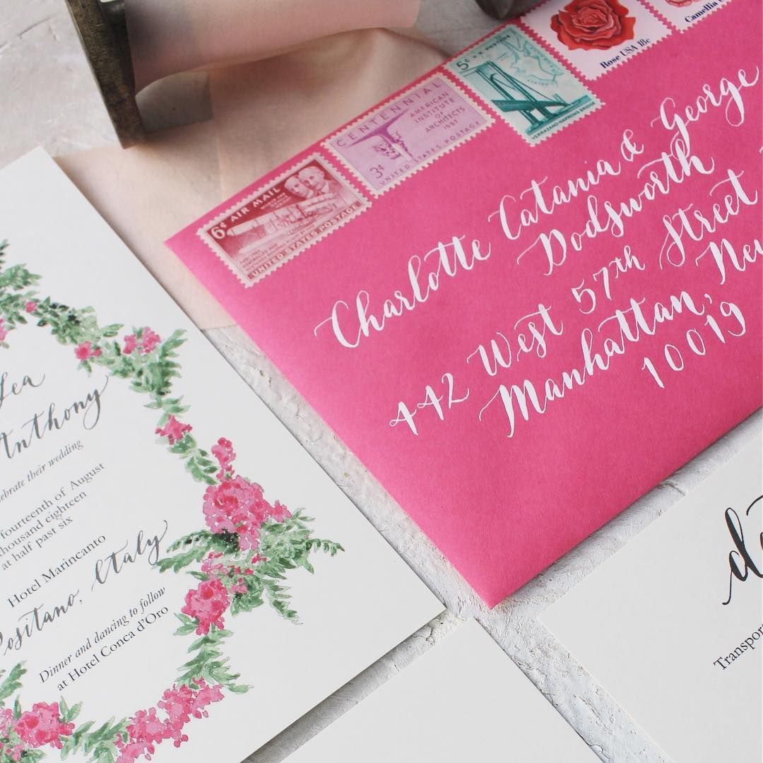 Hot Pink Wedding Invitations Envelope Calligraphy Vintage
