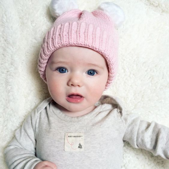 Blue-eyed Hailey Jane looks adorable and cozy in our bee essentials coverall! Thanks @tiffnwhalen for the sweet photo! #burtsbeesbaby #fanphoto #sweet