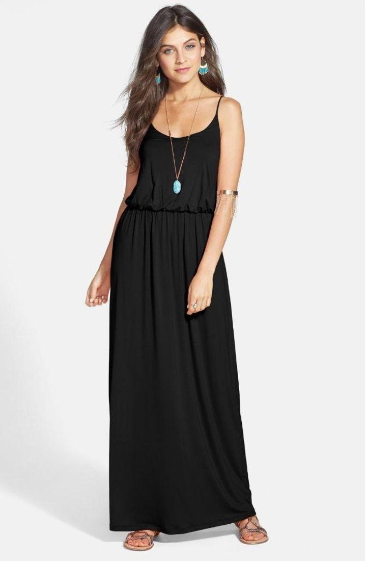 Lush Black Jersey Knit Maxi Dress Medium $52 FTC #4749