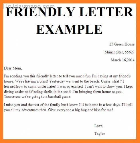 friendly letter example business examples and downloads - friendly letter format