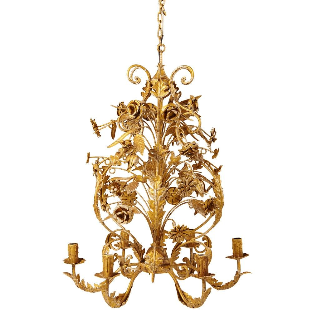 Lustre 6 branches en métal doré effet vieilli D 53cm