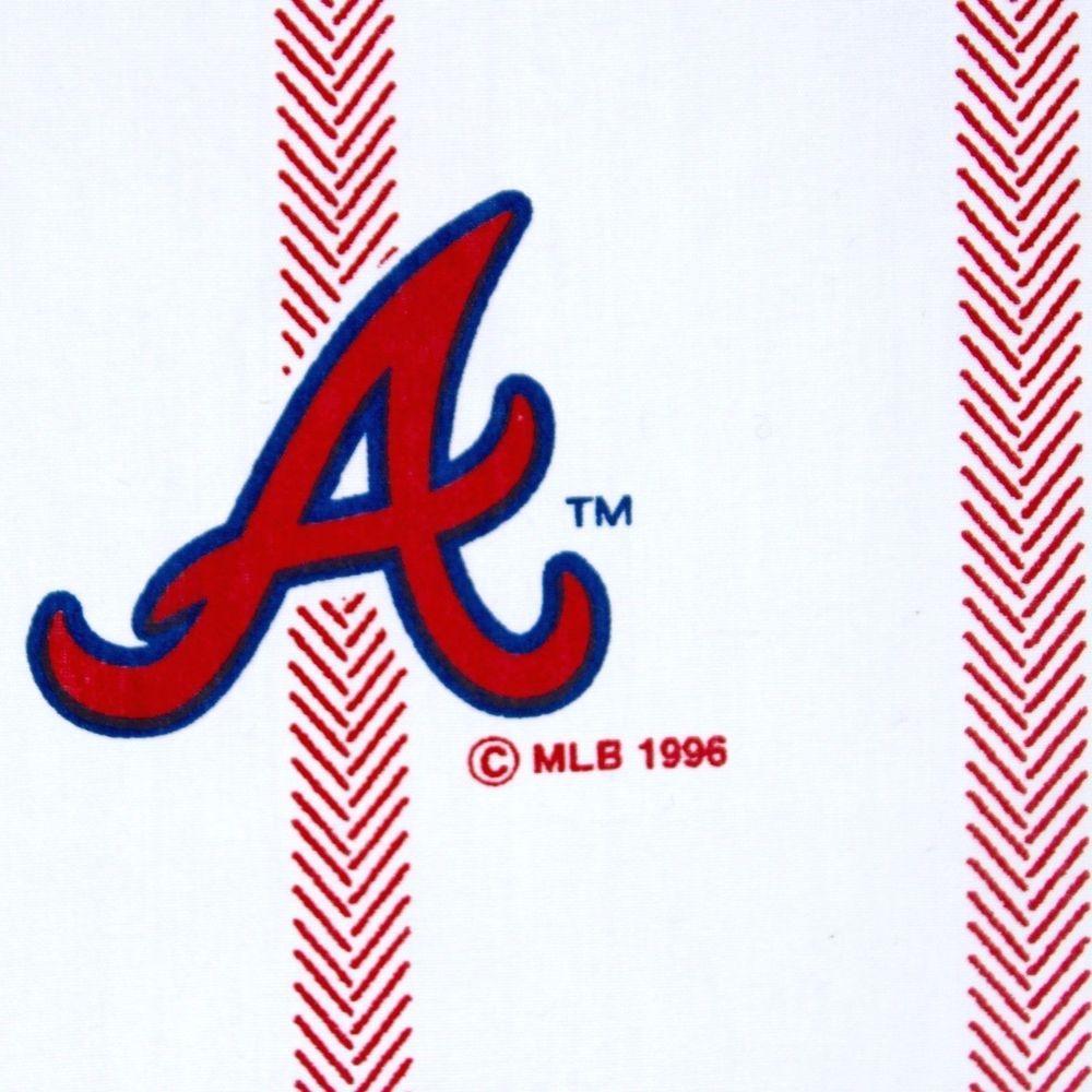 1996 Atlanta Braves Twin Flat Sheet Dan River Baseball Mlb Cutter White Red Logo Danriver Atlantabraves Atlanta Braves Braves Vintage Sheets