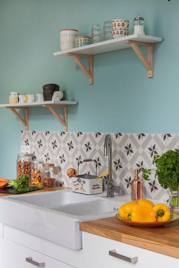 Booster Sa Déco Avec Des Carreaux De Ciment Carrelage De Ciment - Carrelage turquoise pour idees de deco de cuisine