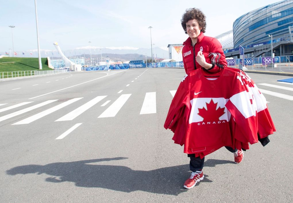Canada at Sochi Games - Day 15 of Competition   News and Blogs - CTV News at Sochi 2014. A team Canada staff member carrier the women's Canadian hockey jerseys back from the arena Feb 22, 2014.