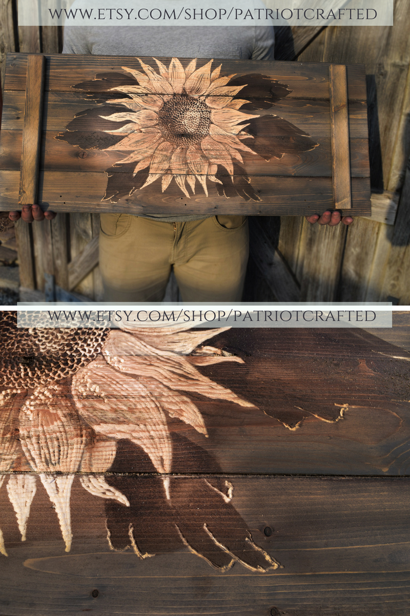 Sunflower rustic wood wall art sunflowers bedroom decor carved wood
