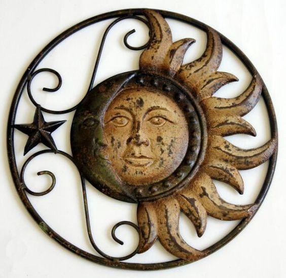 12 5 In Metal Sun And Moon Wall Decor Moon Wall Art Sun Art