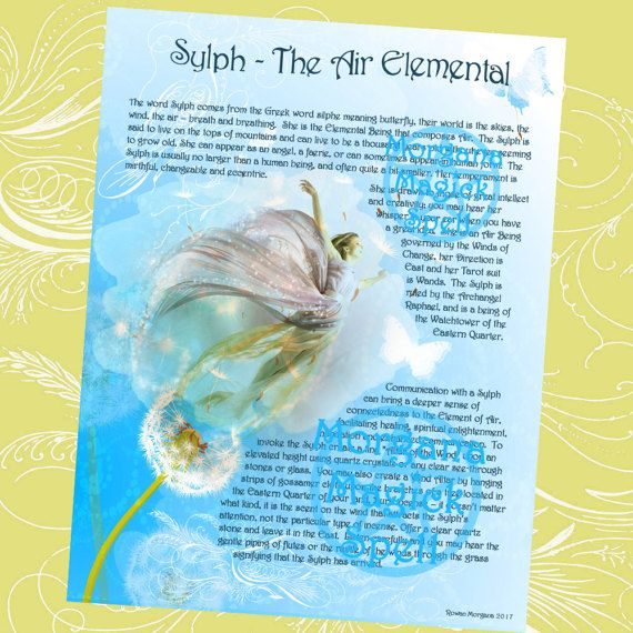 SYLPH The AIR ELEMENTAL Realm Of The Fey Lore Printable