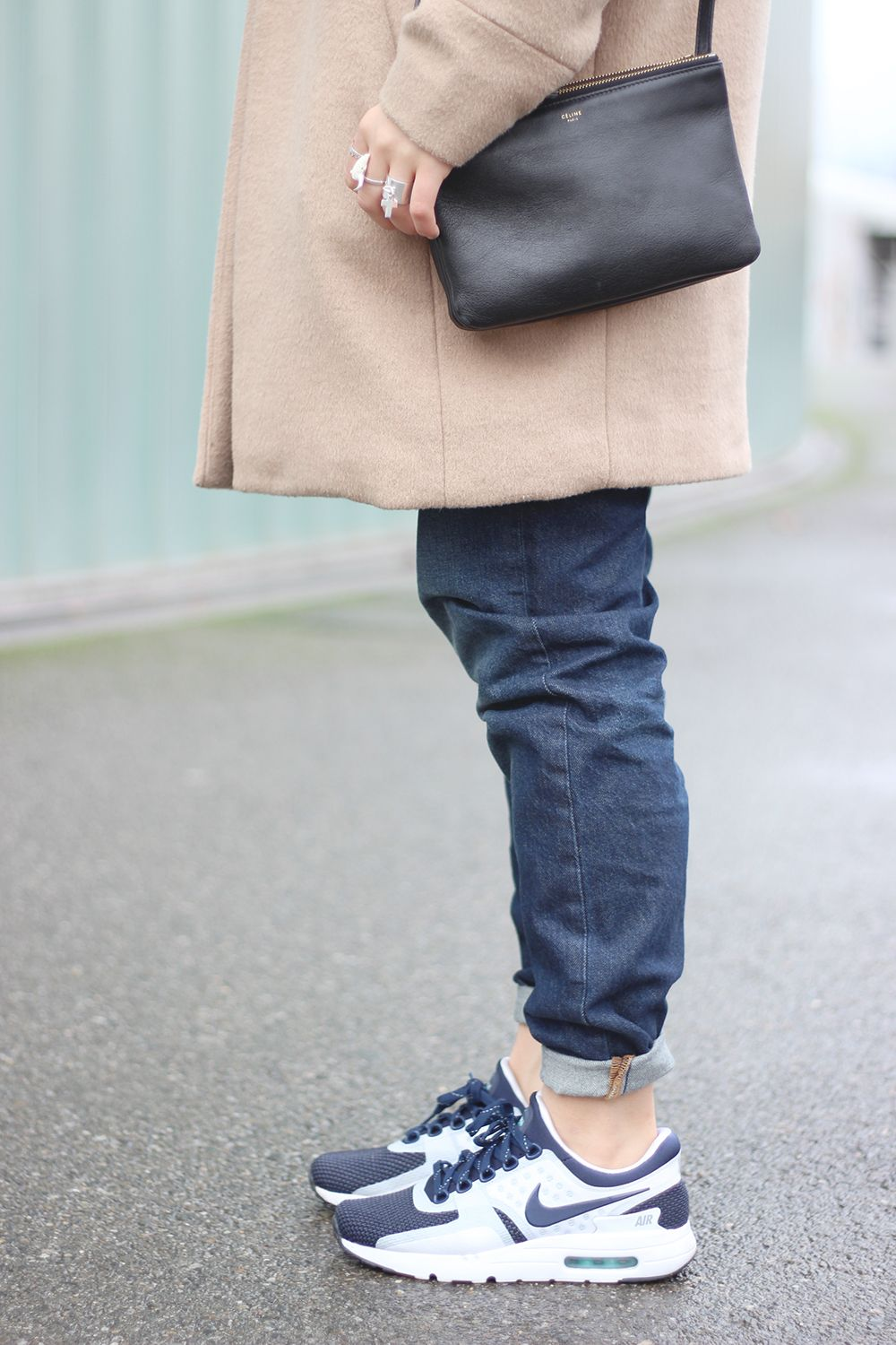 outfit detail camo coat céline trio bag nike air max zero