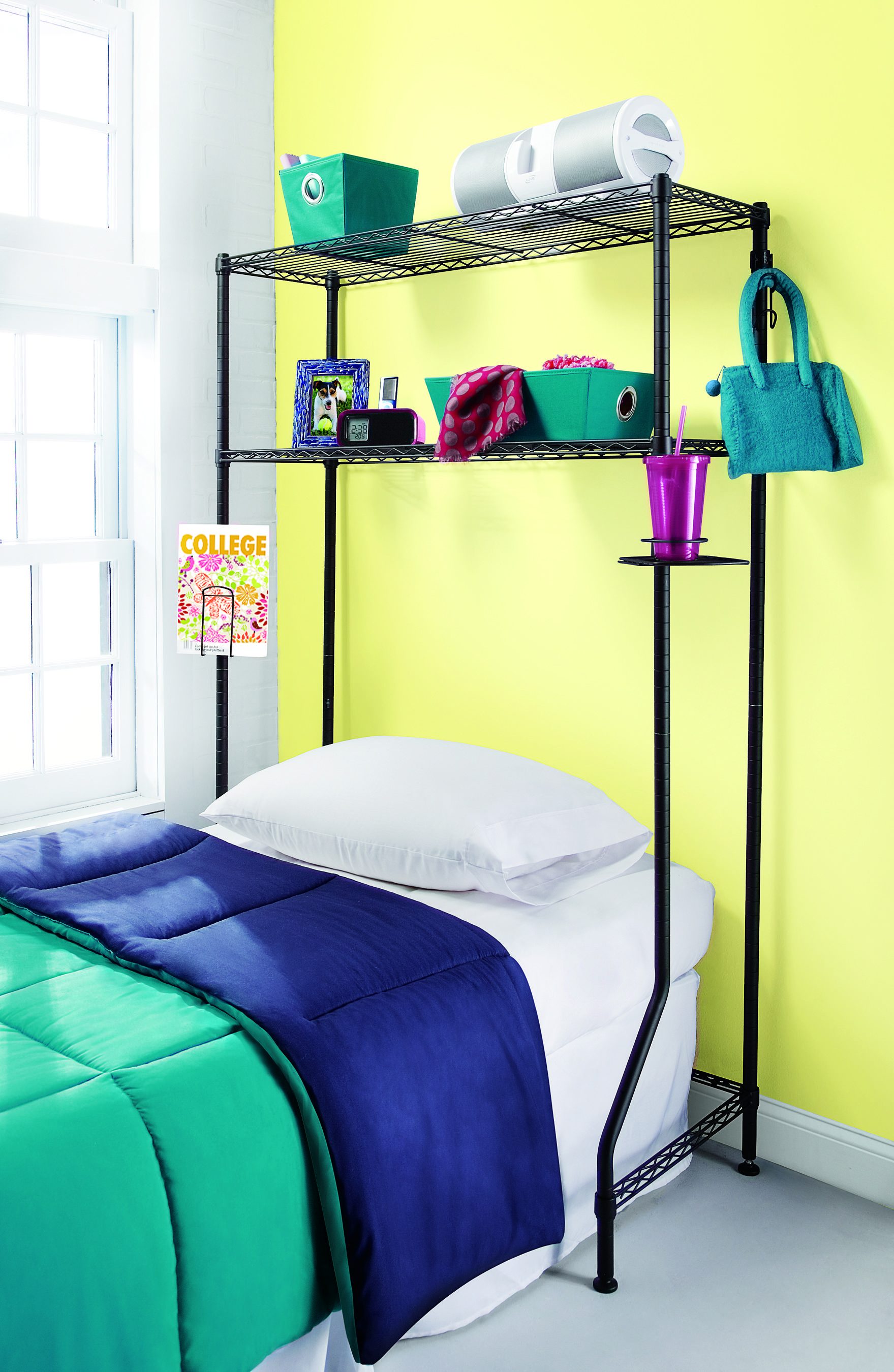 Storage for over the bed desk or dresser Creates storage space even where it