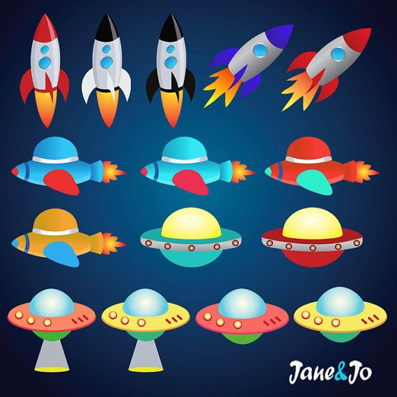Planet rocket. Space clipart outer