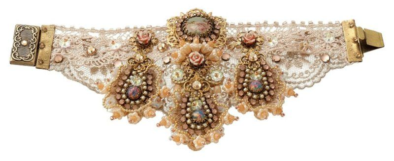 Luxurious Lace Bracelet by Michal Negrin w Roses Cameo, Beige Crystals and Beads | eBay
