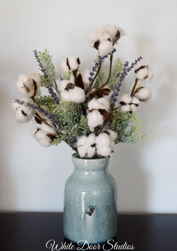Invite The Romance Of An Old Farmhouse Into Your Home With This Gorgeous Cotton Boll Arrangement Available In Two On Tr Cotton Decor Floral Arrangements Decor