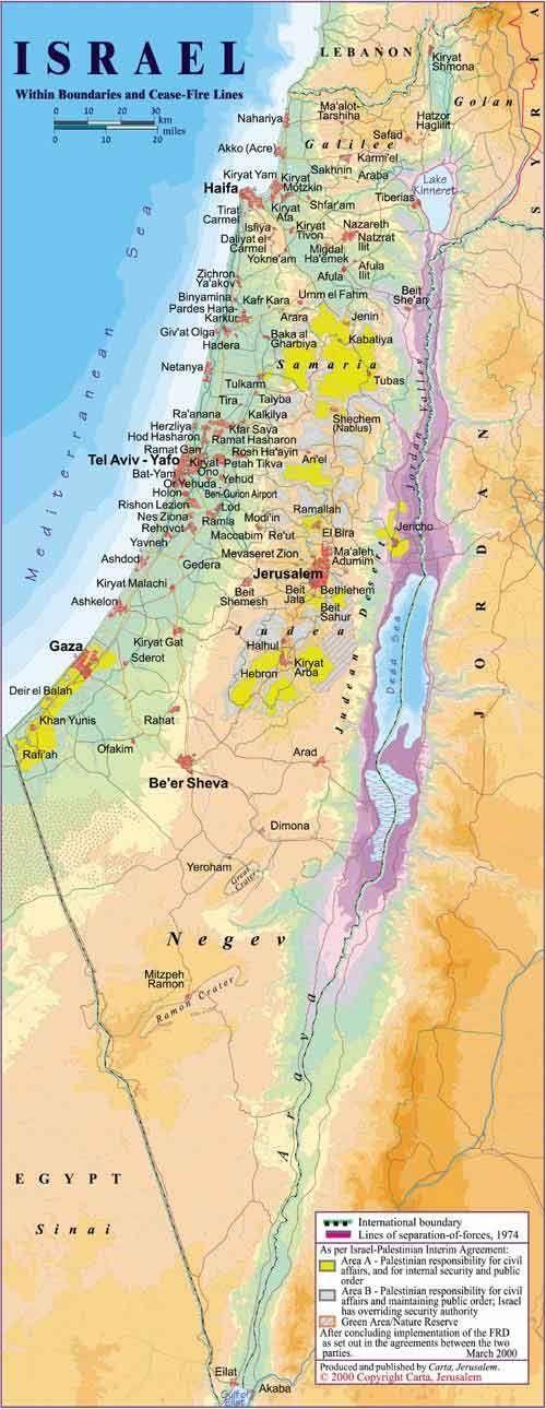 The map of Israel dead sea sea of galilee jaffa jerusalem