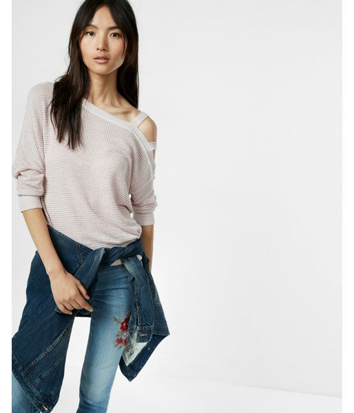 Asymmetrical Strappy Shoulder Sweater