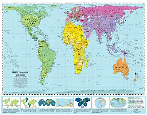 "Peters Equal Area World Map 39 5""x 50"" laminated & t tubed [July"