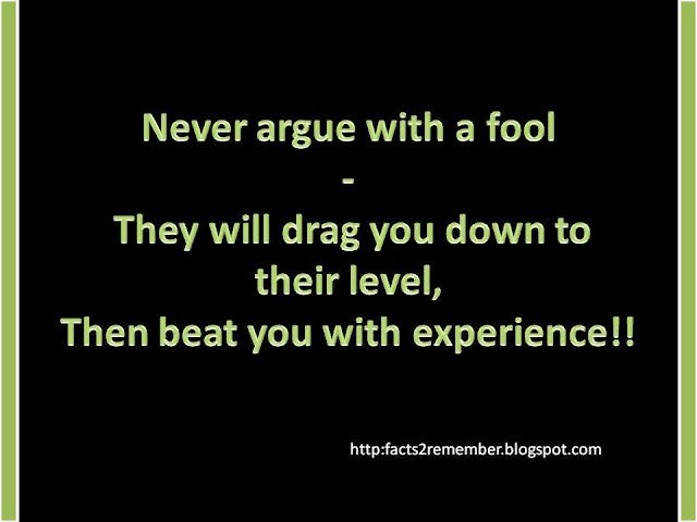 Never Argue With A Fool They Will Drag You Down To Their Level