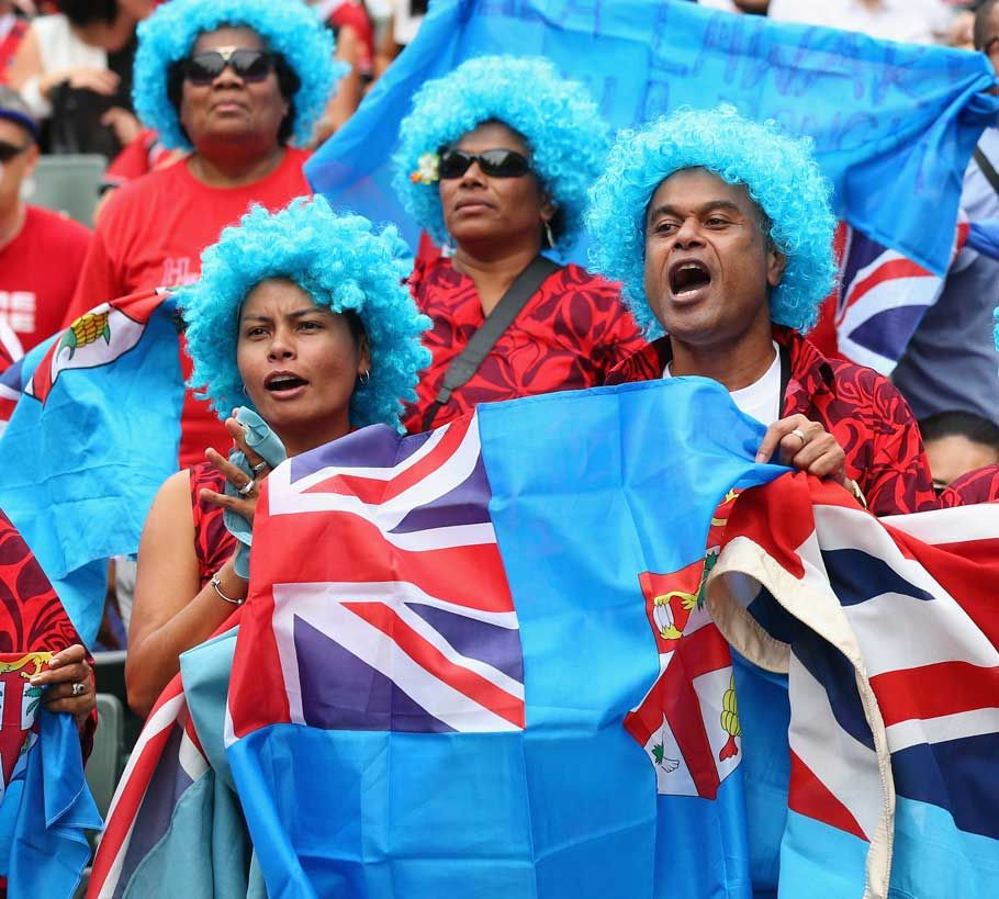 Fiji Rugby Union Fans Fiji Fans Cheer During The Match Against Spain On Day Two Of The Hong Rugby Rugby Union Rugby 7s