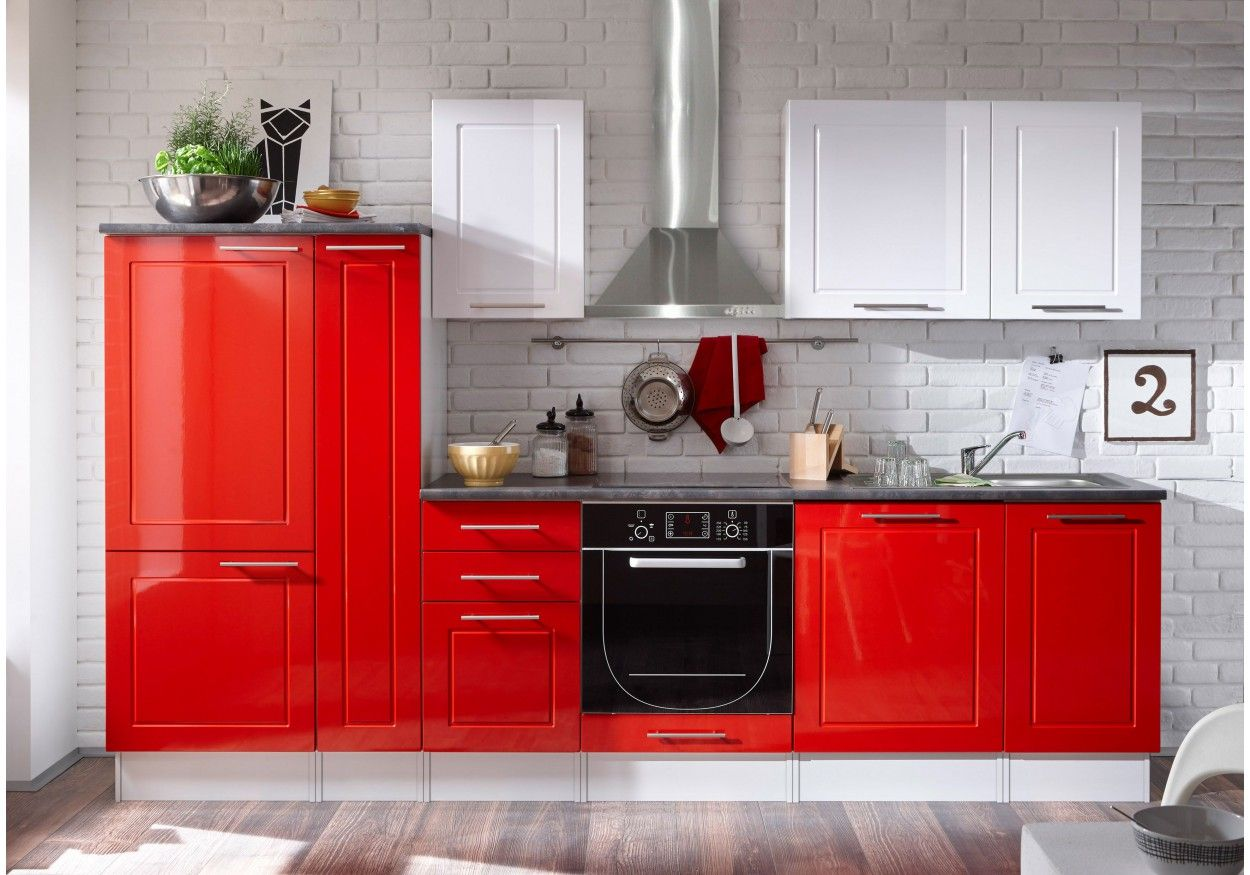 Elegant Küchenzeile Küchenblock Weiss Rot Hochglanz/ Stone Dark Mit Elektrogeräten  Woody Online Kaufen: ✚ Tiefpreisgarantie ✚ Gratis Versand ✚ Auf Rechnung ...