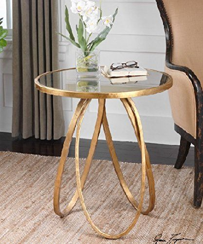 """26 25"""" Geometrical Golden Stretched Ovals Round Accent Table Diva At"""