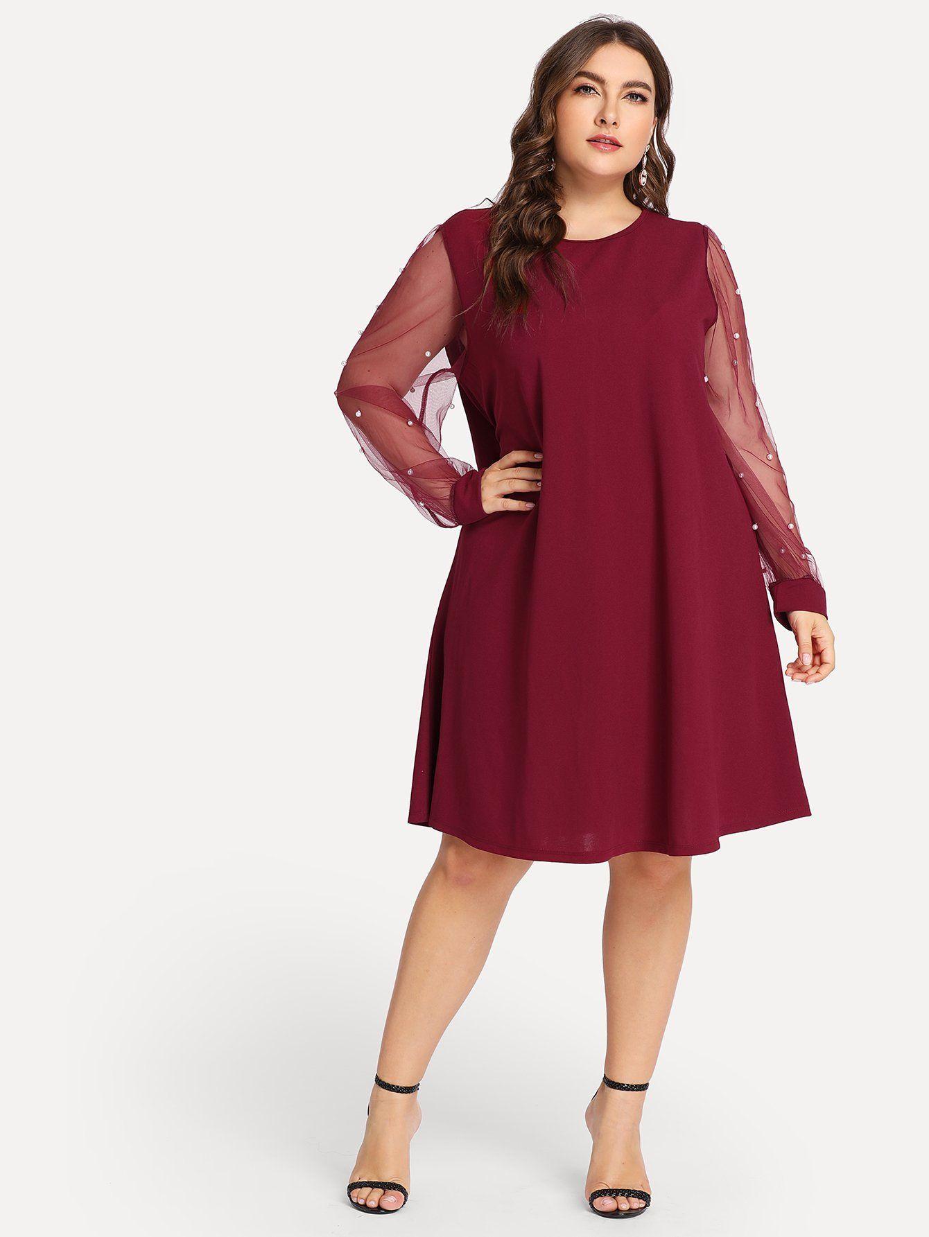 b17d89a65e1 Plus Size Pearl Beading Mesh Sleeve Burgundy Dress FREE SHIP ...