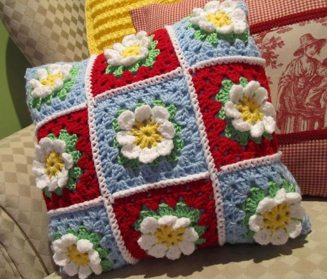 Crocheted daisy pillow