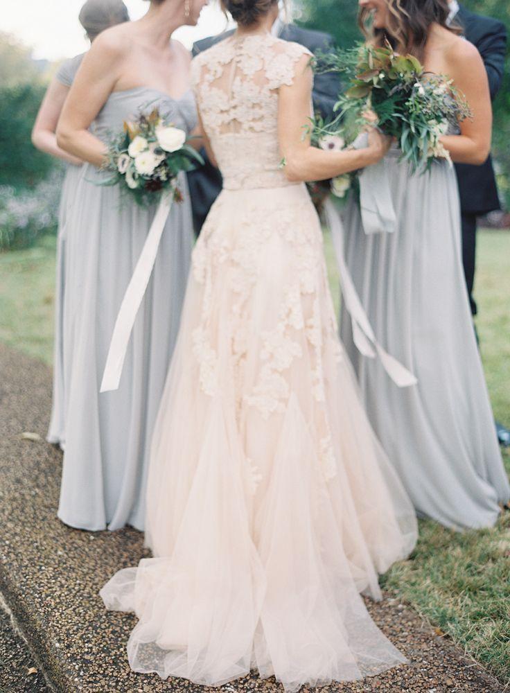 Blush Wedding Dress With Grey Bridesmaids Dresses