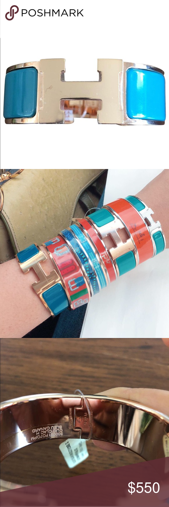 Hermes clic clac h bracelet bangle nwt my posh closet pinterest
