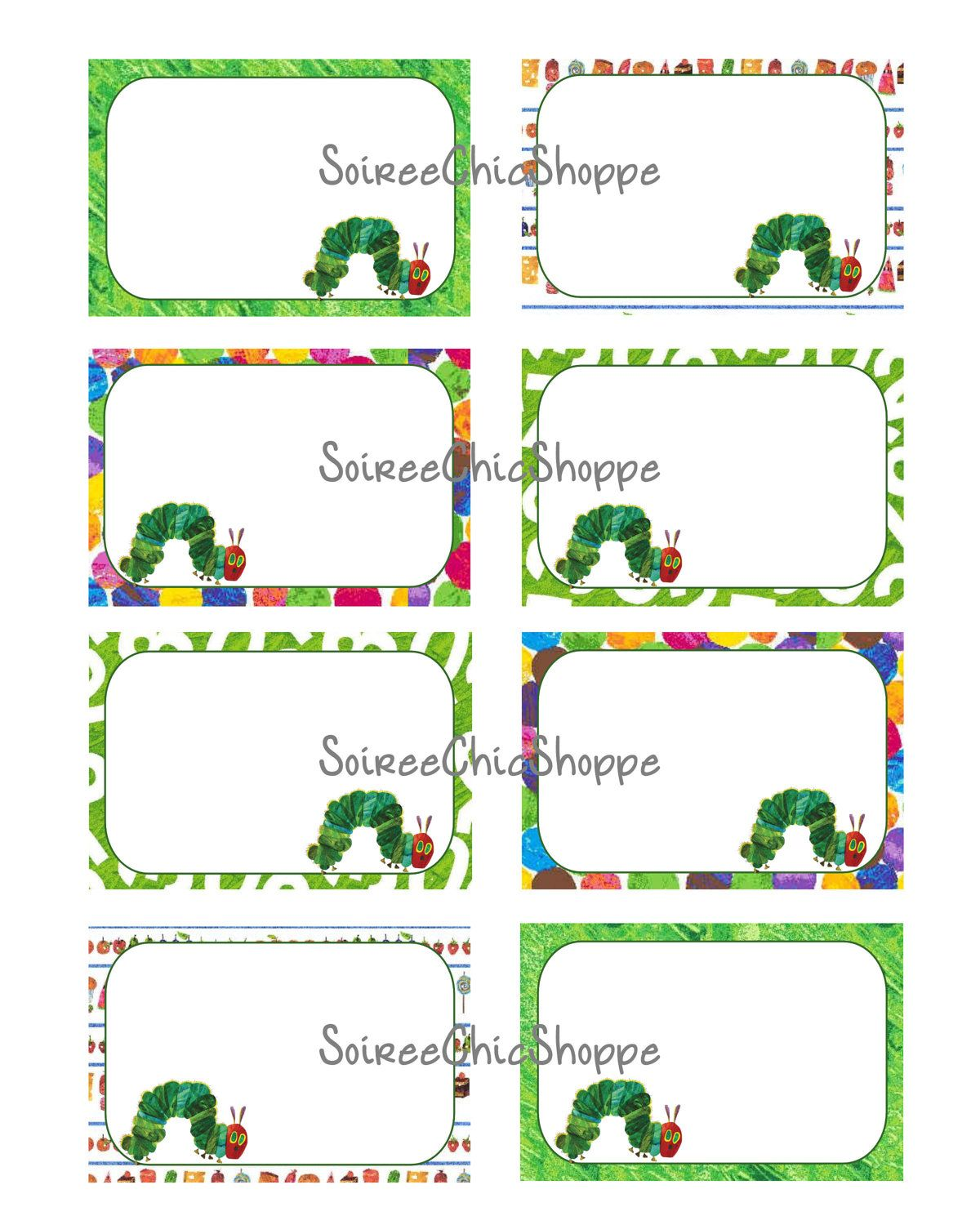 Custom Printable Hungry Caterpillar Labels Place Cards Or Tags