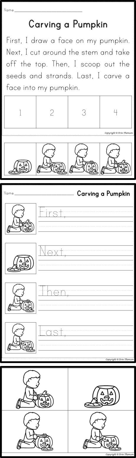 FREE Carving a Pumpkin Sequencing Story and Writing Activity