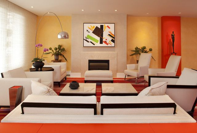 This Sleek Modern Living Room With Orange, White And Dandelion Yellow Would  Be Perfect For The Modern Seeking Family.