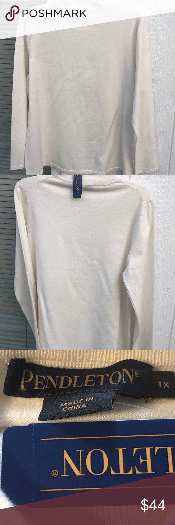 bestille autentisk bedst billigt Pendleton mock neck pullover NWT 1X off white New with tag ...