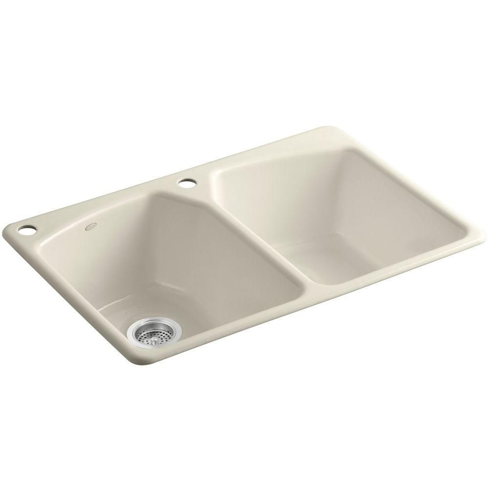 Tanager Top Mount Cast Iron 33 In 2 Hole Double Bowl Kitchen Sink