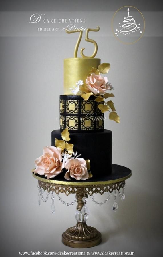 Black Gold 75th Birthday Cake Cake By D Cake Creations 75