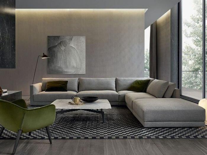 canapé composable modulable, grande chaise verte