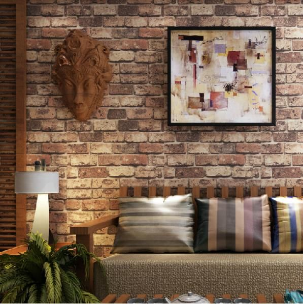 Faux brick wallpaper for the home pinterest brick for Cheap brick wallpaper