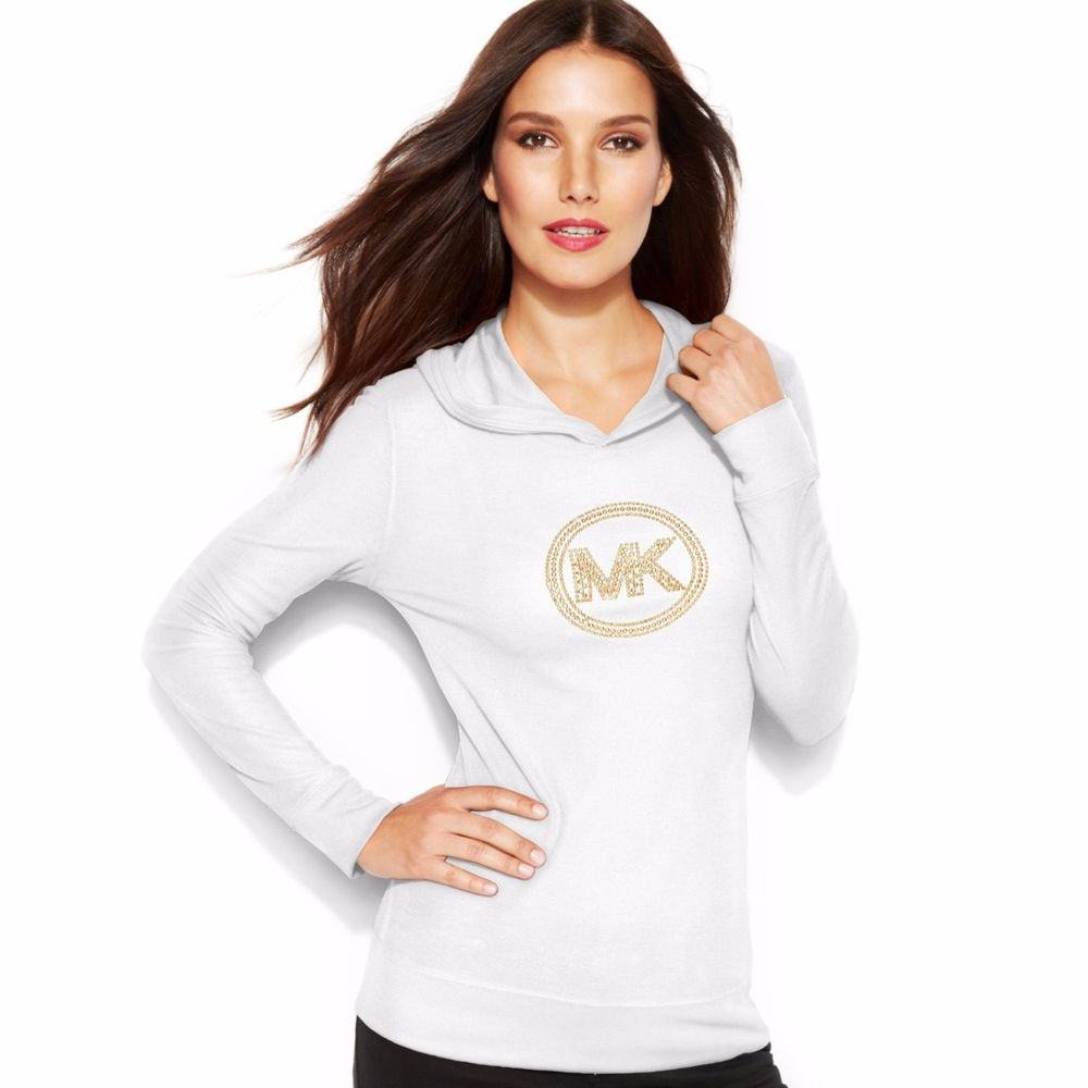 New Michael Kors Petite Waffle Knit Hoodie Tee White w/Studded-Gold Logo Size 2P #MichaelKors #WaffleKnitHooded