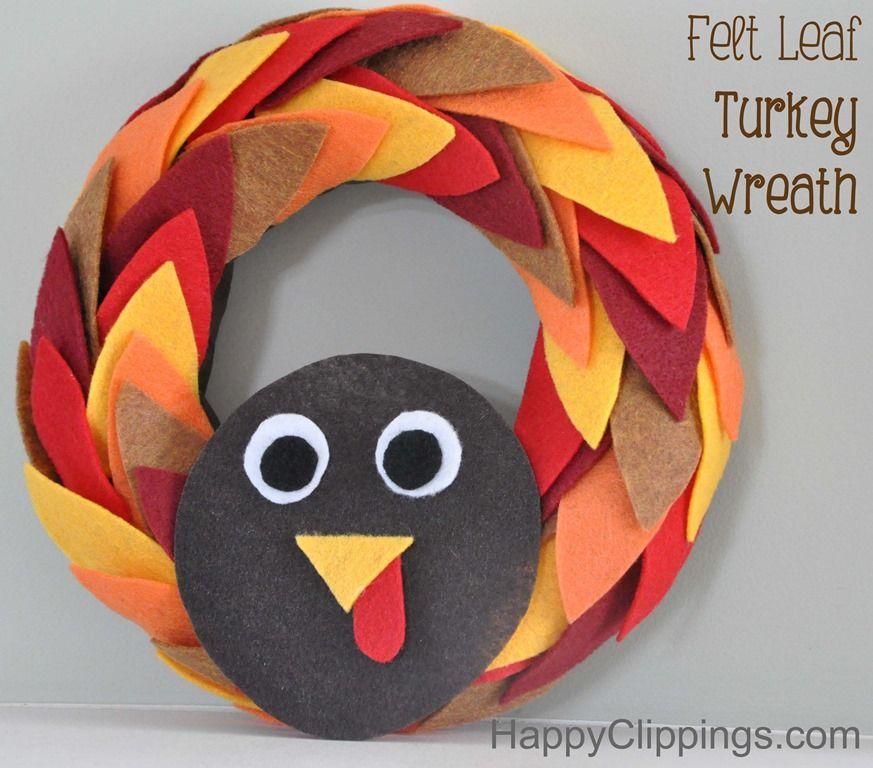 diy felt leaf turkey wreath happyclippings com