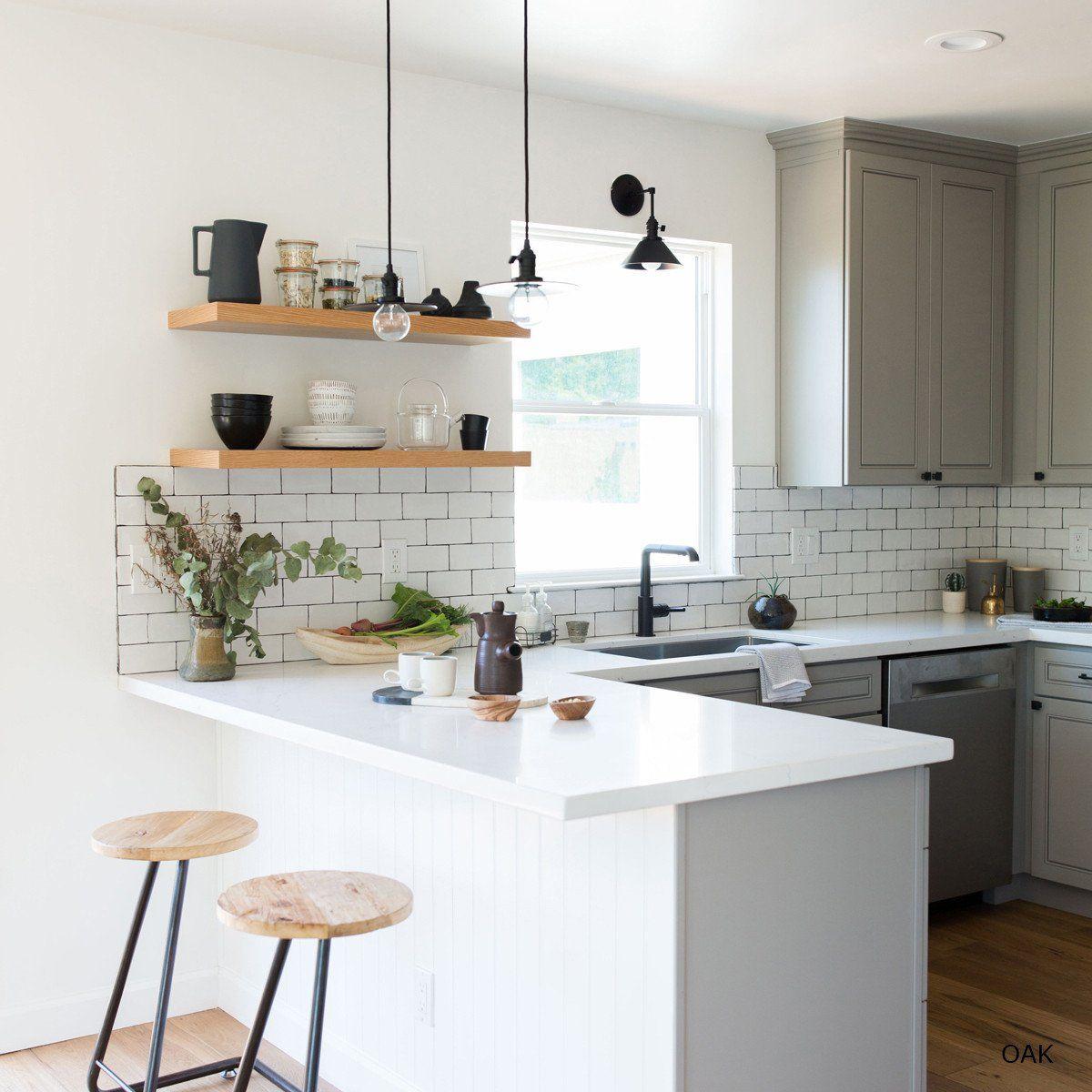 Floating Kitchen Island Designs: Floating Shelves - Oak In 2019