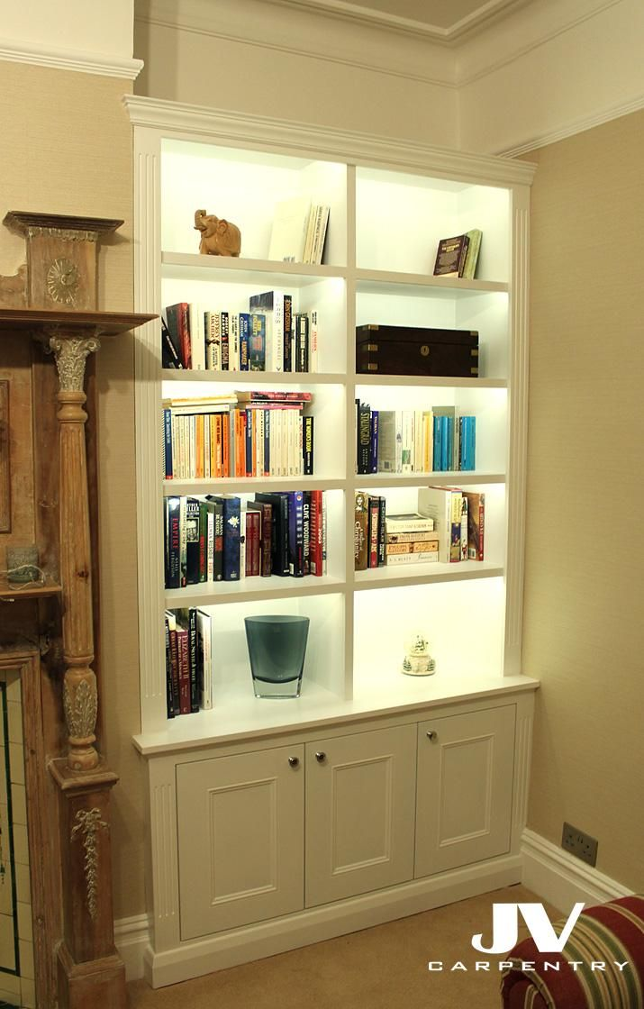 Traditional alcove bookcases with LED lights in the shelves, Made ...