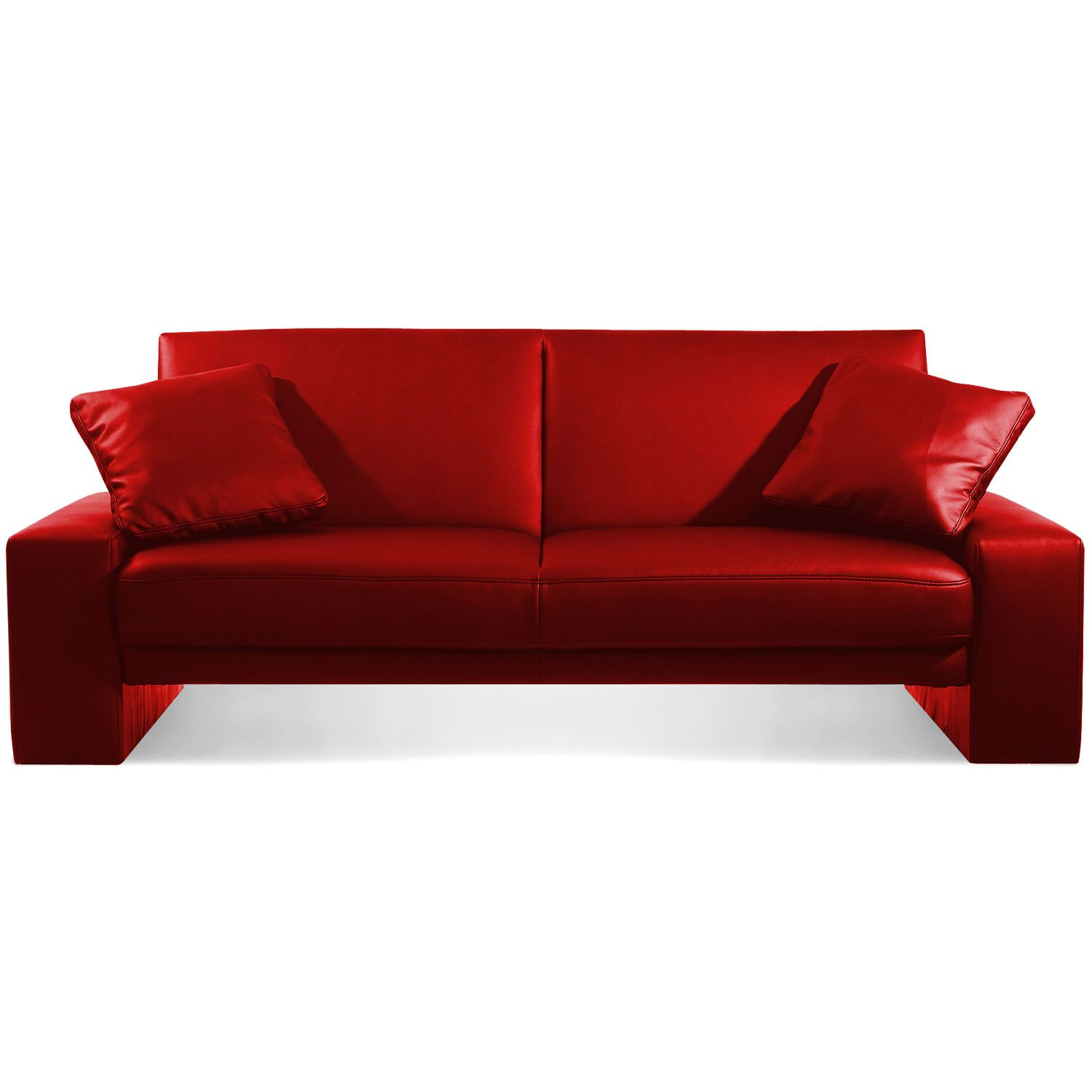 Sofa Bed Designer Red Faux Leather Supra 2 Seater Sleeper Cheap