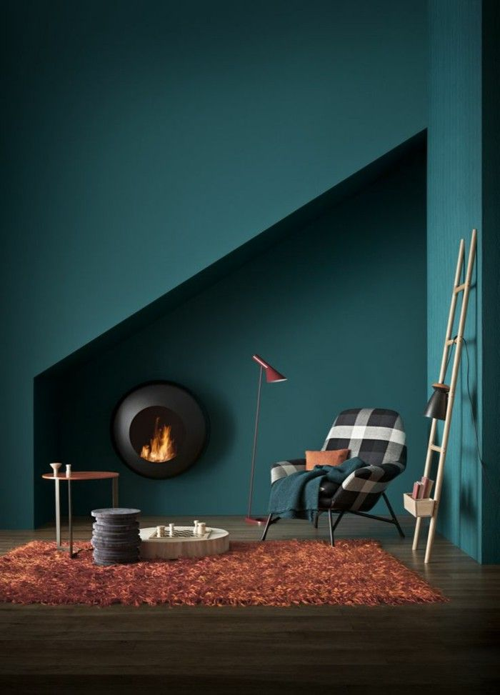 Room Wanfarben Ideas Dark Green Wall Color Orange Carpet Modern Fireplace Living